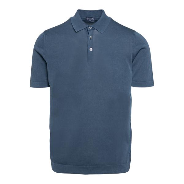 Lightweight polo shirt in dark blue                                                                                                                   Drumohr D1LN202T back