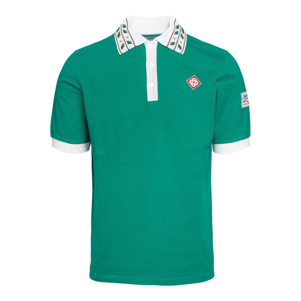Polo verde con patch logo                                                                                                                             Casablanca MS21JTP002 retro