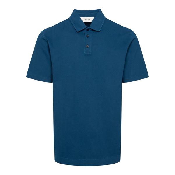 Classic polo shirt in petrol blue                                                                                                                     Zegna ZZ689 back