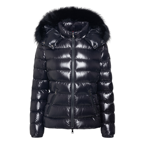 Black down jacket with logo patch                                                                                                                     Moncler 1A54002 back
