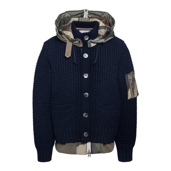 Black knitted jacket with hood                                                                                                                        Sacai 2102576M back