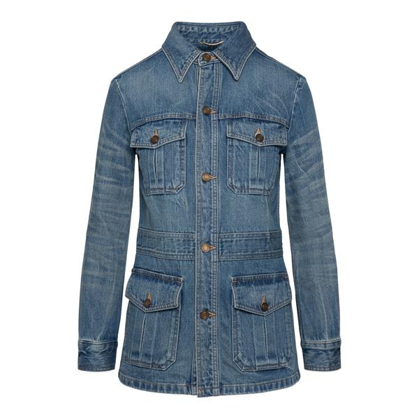 Blue denim jacket with multiple pockets                                                                                                               Saint Laurent 659616 back