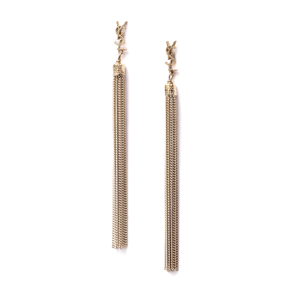 Gold earrings with tassels                                                                                                                            Saint Laurent 506030 front