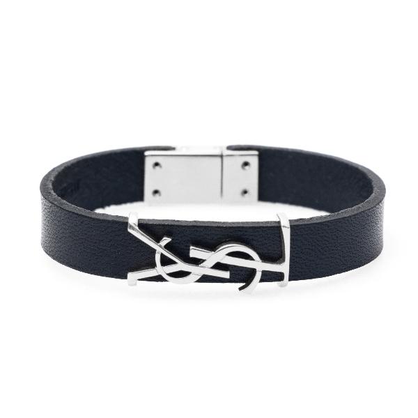Black strap bracelet with silver logo                                                                                                                 Saint Laurent 559355 back