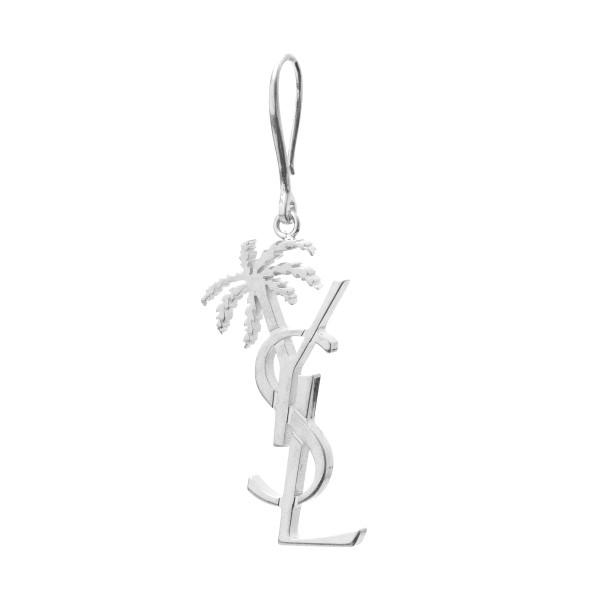 Earring with silver monogram                                                                                                                          Saint Laurent 584129 back