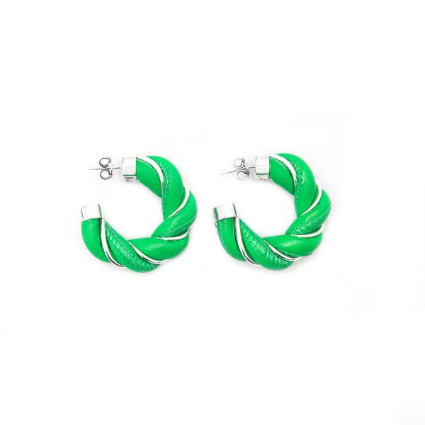 Green leather hoop earrings                                                                                                                           Bottega Veneta 628948 back
