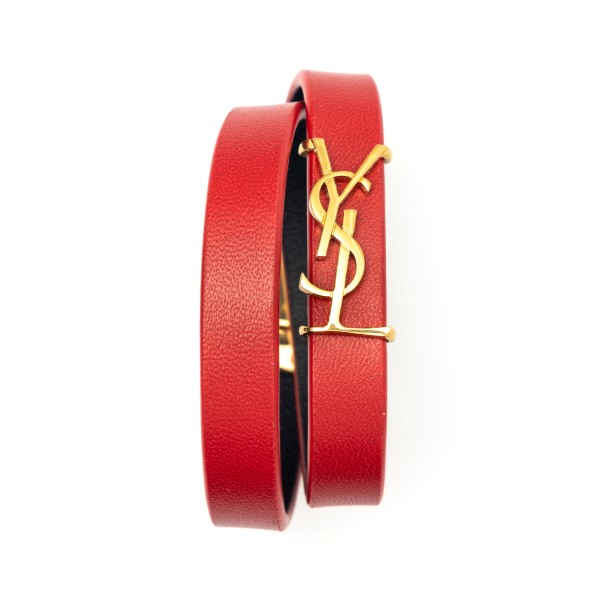 Double bracelet with red strap with logo                                                                                                              Saint Laurent 646558 back