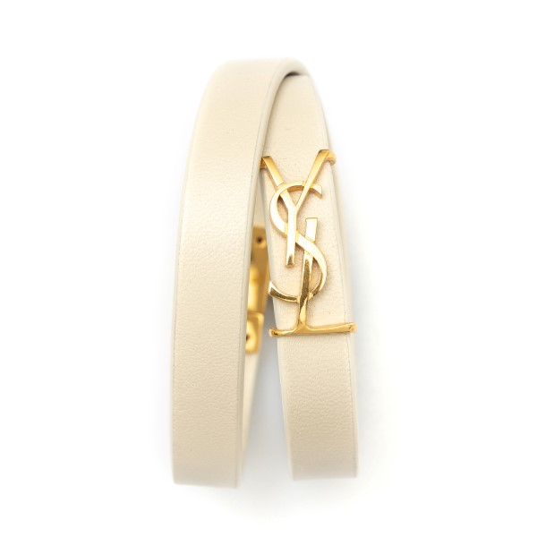 Double ivory strap bracelet with logo                                                                                                                 Saint Laurent 646558 back