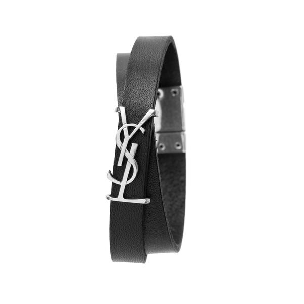 Black strap bracelet with silver logo                                                                                                                 Saint Laurent 646558 back