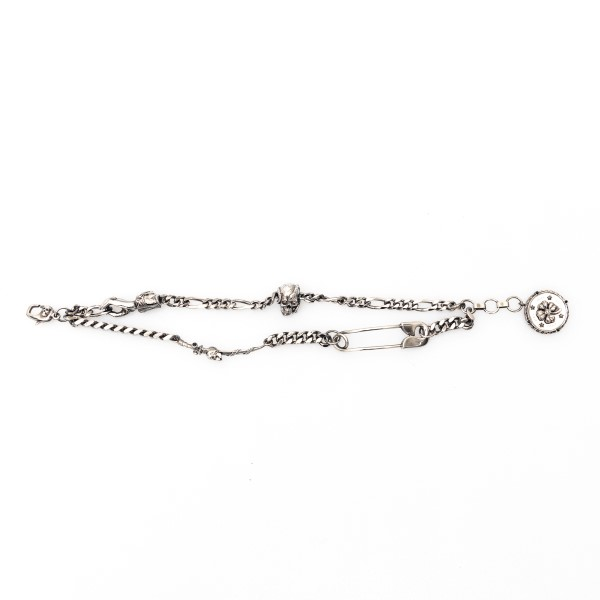 Silver chain bracelet with pendant                                                                                                                    Alexander mcqueen 650911 front
