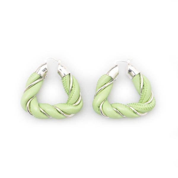 Twisted green leather earrings                                                                                                                        Bottega Veneta 657438 back