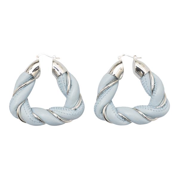 Blue leather twisted earrings                                                                                                                         Bottega Veneta 657438 back