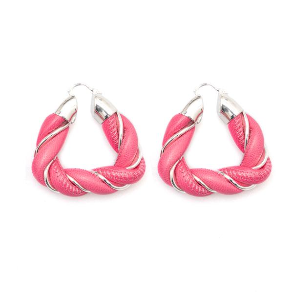 Twisted earrings in pink leather                                                                                                                      Bottega Veneta 657438 back