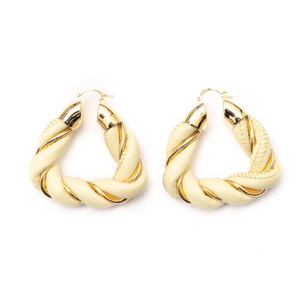 Beige earrings in twisted design                                                                                                                      Bottega Veneta 657438 back