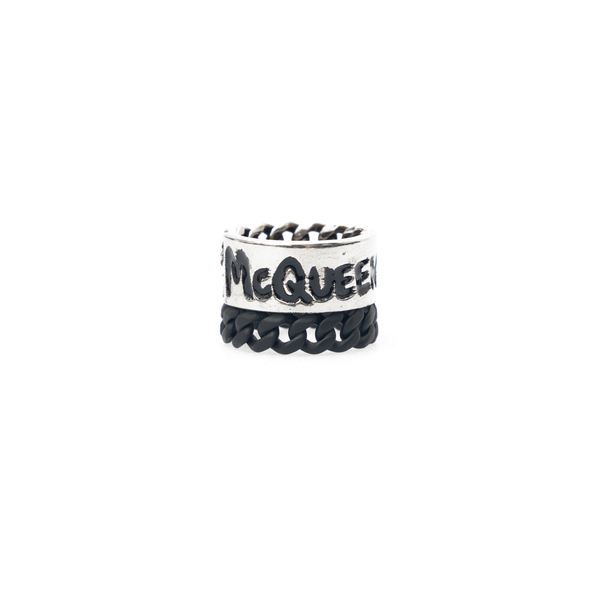 Silver interweaving effect ring                                                                                                                       Alexander Mcqueen 663855 back