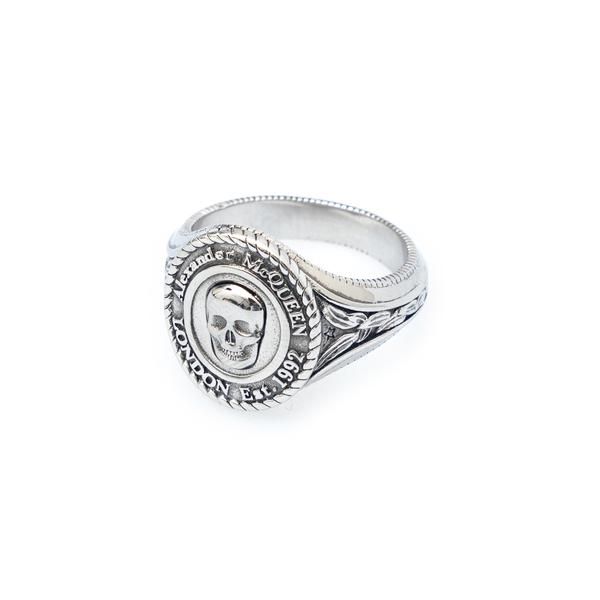 Signet ring with skull                                                                                                                                Alexander Mcqueen 669950 back