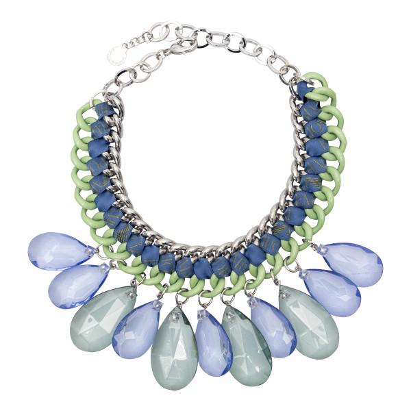 Chain necklace with blue teardrop stones                                                                                                              Emporio Armani 860327 back
