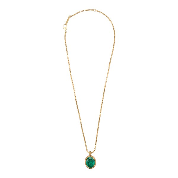 Golden necklace with green stone                                                                                                                      Ambush BMOB059S21MET001 back