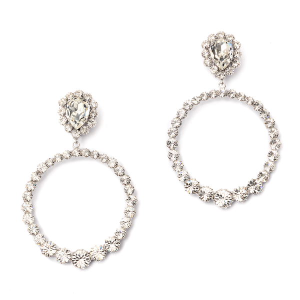 Hoop earrings with rhinestones                                                                                                                        Alessandra Rich FABA2313 front