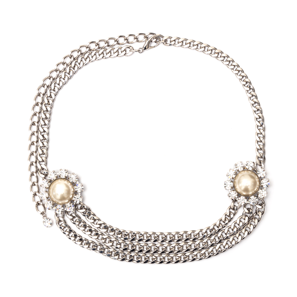 Chain necklace with pearls and crystals                                                                                                               Alessandra Rich FABA2326 back
