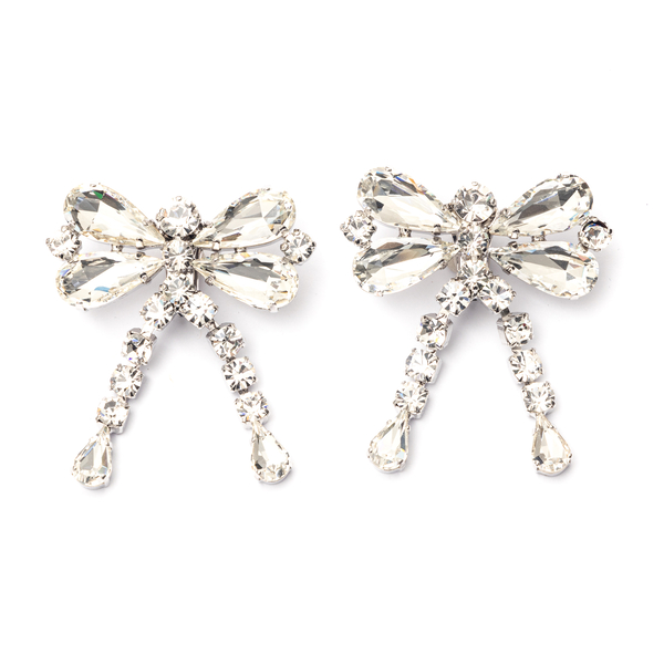 Bow earrings with crystals                                                                                                                            Alessandra Rich FABA2329 back