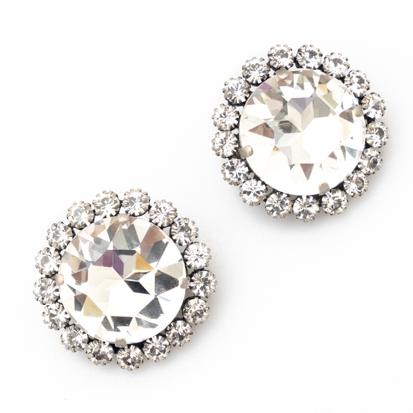 Round earrings with crystals                                                                                                                          Alessandra Rich FABA2372 back