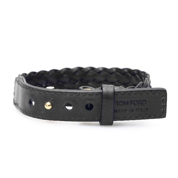 Black braided leather bracelet                                                                                                                        Tom ford JM0001T front