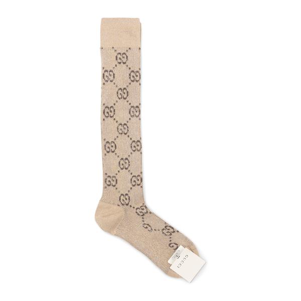 Beige socks with logo pattern                                                                                                                         Gucci 476525 back