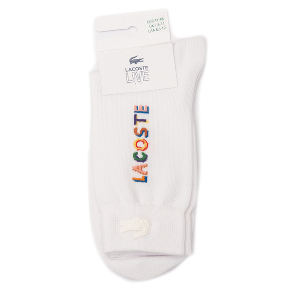 White socks with multicolored writing                                                                                                                 Lacoste L!ve RA6829 back