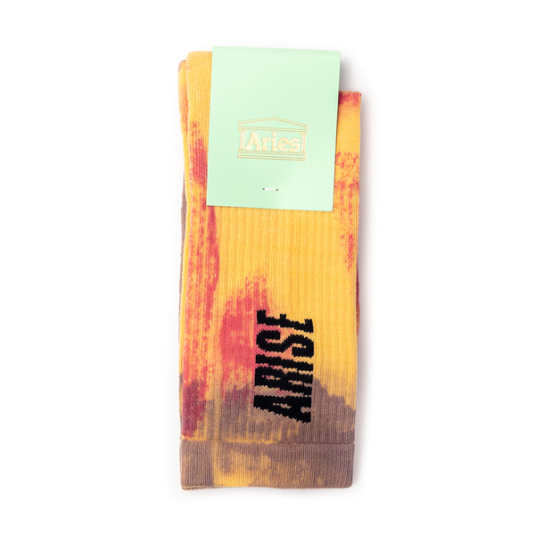Yellow tie-dye effect socks with logo                                                                                                                 Aries SRAR00044 front