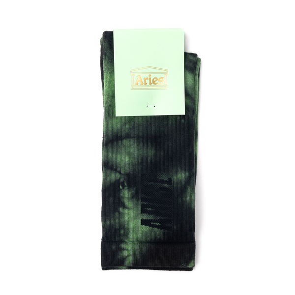 Green tie-dye style socks with logo                                                                                                                   Aries SRAR00044 front
