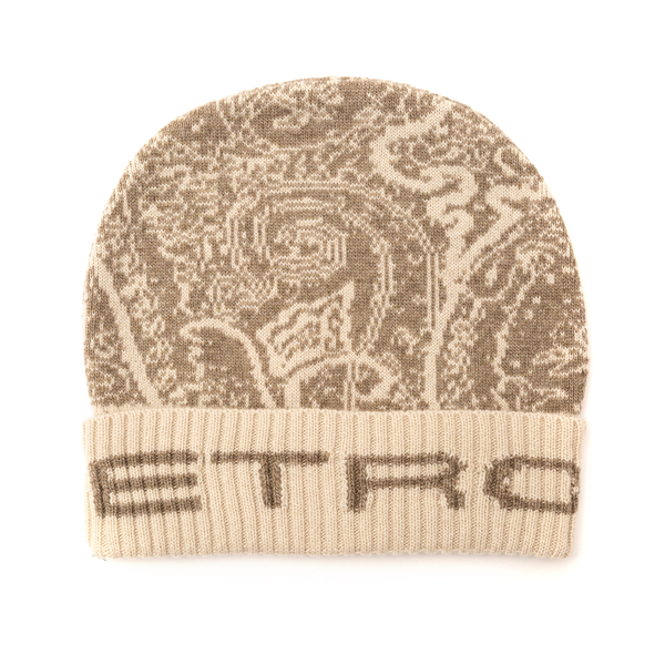 Beige beanie hat with paisley print                                                                                                                   Etro 1T834 back
