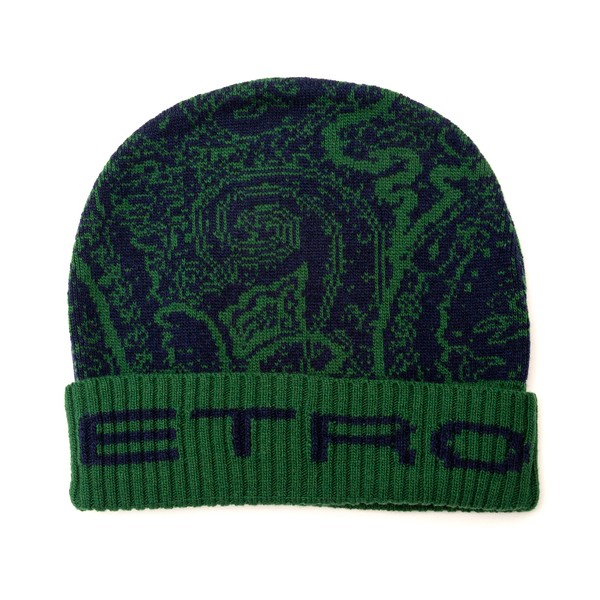 Green beanie hat with paisley print                                                                                                                   Etro 1T834 back