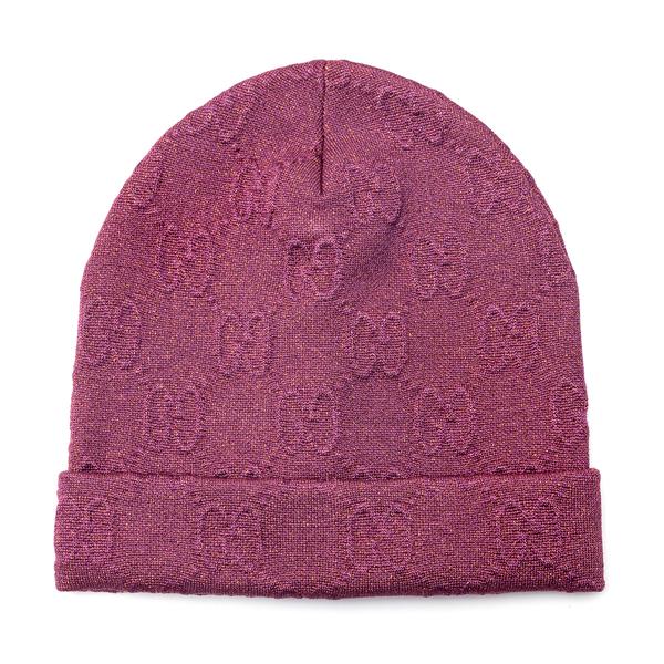 Fuchsia beanie hat with logo                                                                                                                          Gucci 661488 back