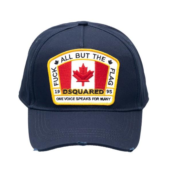 Cappellino da baseball blu con patch                                                                                                                  Dsquared2 BCM4011 retro