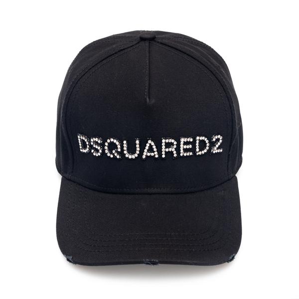 Cappello da baseball nero con strass                                                                                                                  Dsquared2 BCW0028 retro