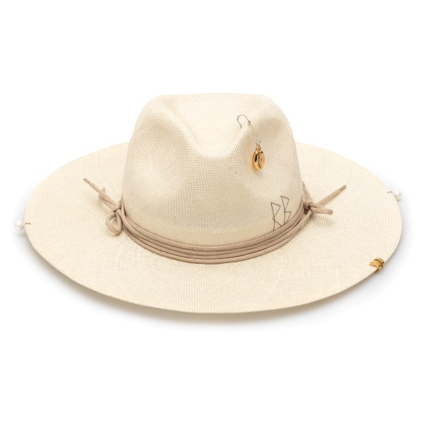 Beige fedora hat with embroidery and pendant                                                                                                          Ruslan Baginskiy FDR036 back