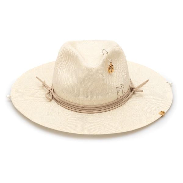 Cappello fedora beige con ricamo e ciondolo                                                                                                           Ruslan Baginskiy FDR036 retro