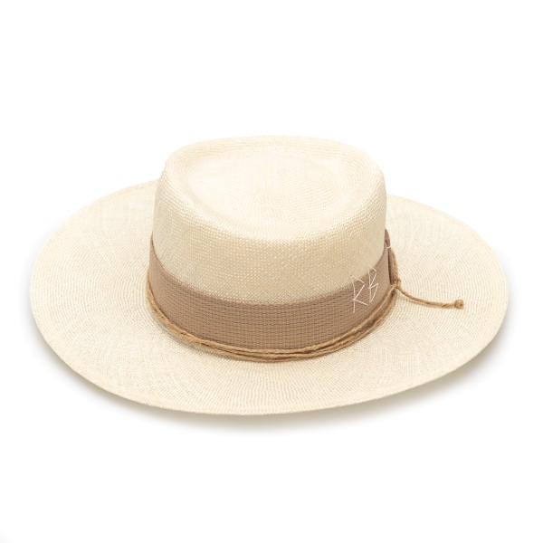 Wide-brimmed beige hat with embroidery                                                                                                                Ruslan Baginskiy GMB036 back