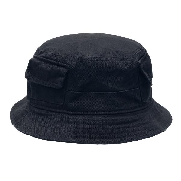 Black bucket hat with pockets                                                                                                                         Heron preston HMLB005R21FAB001 front
