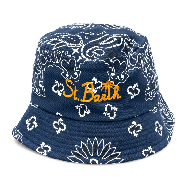 Cappello a secchiello blu con stampa paisley                                                                                                          Saint Barth JAMES retro