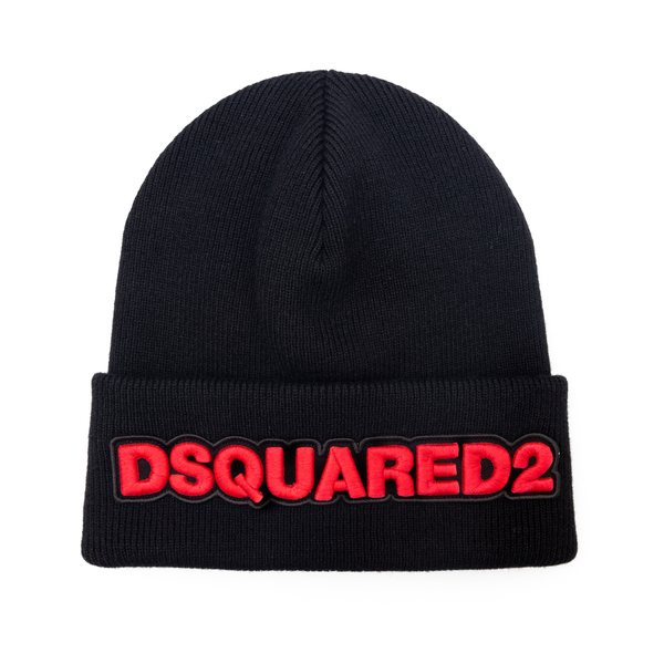 Black beanie hat with brand name                                                                                                                      Dsquared2 KNW0001 back