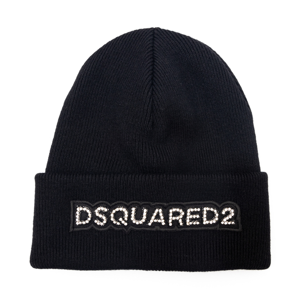 Black beanie hat with rhinestones                                                                                                                     Dsquared2 KNW0001 back
