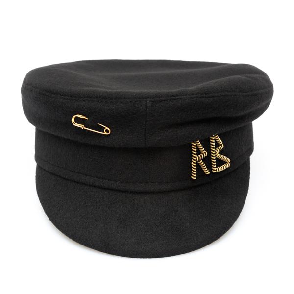 Black Baker Boy hat with applications                                                                                                                 Ruslan Baginskiy KPC033 back