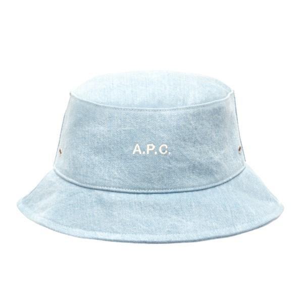 Cappello a secchiello azzurro con logo                                                                                                                A.p.c. M24075 retro