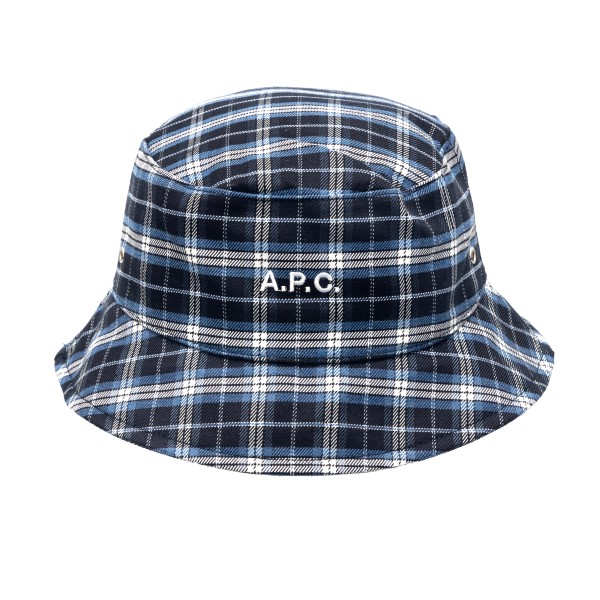 Blue checked bucket hat with logo                                                                                                                     A.p.c. M24075 back