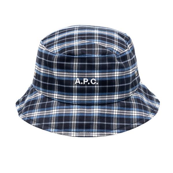 Cappello a secchiello blu a quadri con logo                                                                                                           A.p.c. M24075 retro