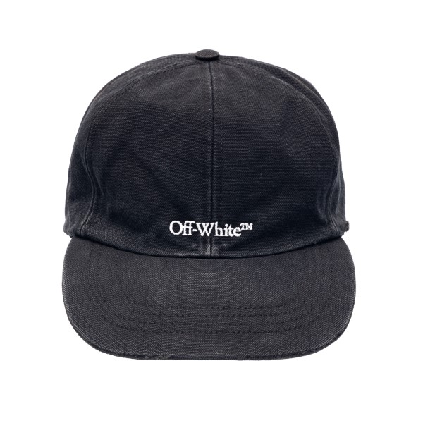 Black baseball cap with logo embroidery                                                                                                               Off white OMLB022R21FAB006 front