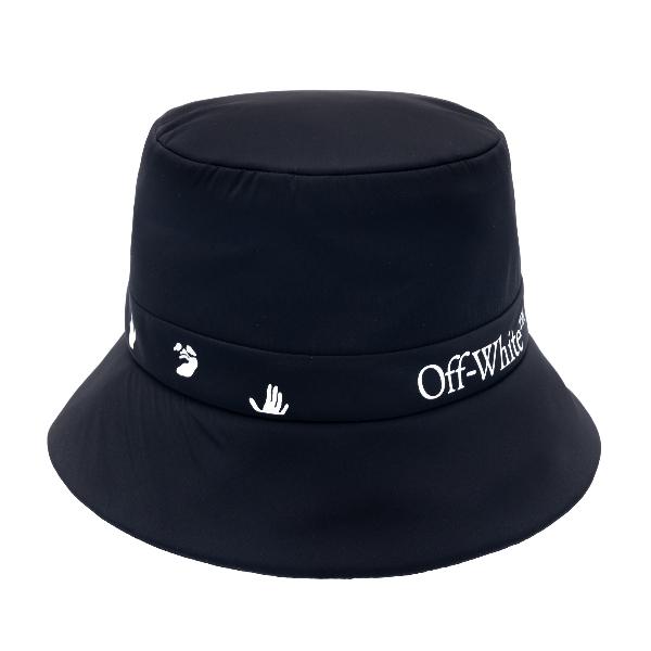 Cappello a secchiello nero con loghi                                                                                                                  Off white OWLB013R21FAB001 fronte