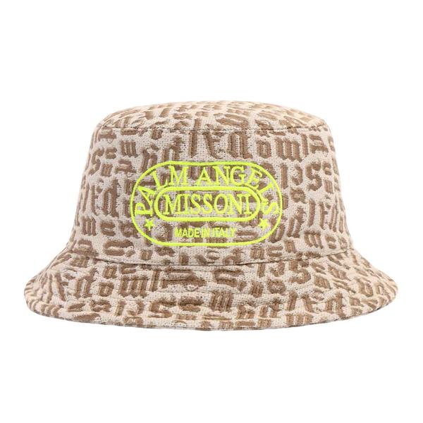 Beige bucket hat with logo print                                                                                                                      Palm Angels X Missoni PWLA007F21FAB002 back